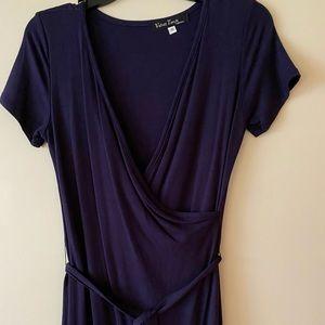 Velvet Torch Navy blue wrap effect dress